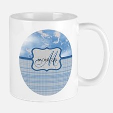 Custom Monogram Blue Plaid Mug