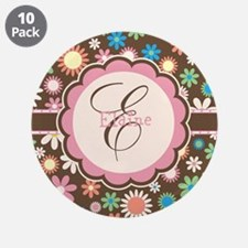"""Personalized Name Flower Pattern 3.5"""" Button (10 p"""