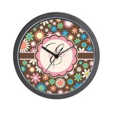 Personalized Name Flower Pattern Wall Clock