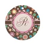 Personalized Name Flower Pattern Ornament (Round)