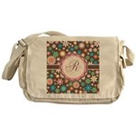 Personalized Name Flower Pattern Messenger Bag