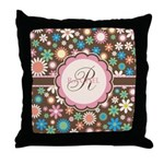 Personalized Name Flower Pattern Throw Pillow
