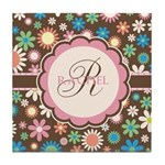 Personalized Name Flower Pattern Tile Coaster