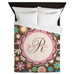 Personalized Name Flower Pattern Queen Duvet