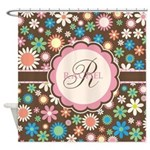 Personalized Name Flower Pattern Shower Curtain