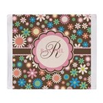 Personalized Name Flower Pattern Throw Blanket