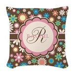 Personalized Name Flower Pattern Woven Throw Pillo