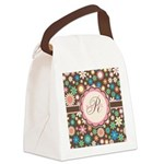 Personalized Name Flower Pattern Canvas Lunch Bag