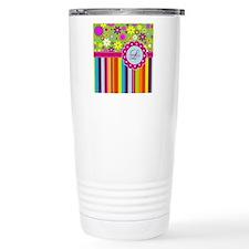 Custom Name Flower Background Travel Mug