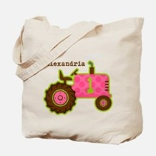 Pink Tractor 1st Birthday Personalized Tote Bag