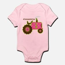 Pink Tractor 1st Birthday Personalized Infant Body