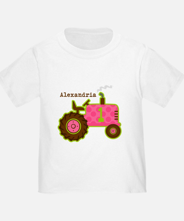 Pink Tractor 1st Birthday Personalized T