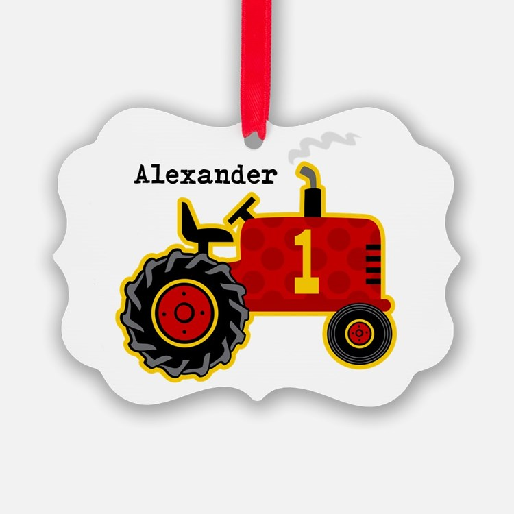 Red Tractor 1st Birthday Personalized Ornament