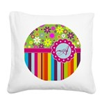 Custom Name Flower Background Square Canvas Pillow