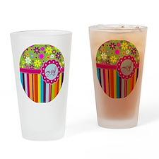 Custom Name Flower Background Drinking Glass