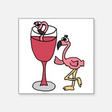 Flamingo in Wine Glass Sticker