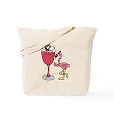 Flamingo in Wine Glass Tote Bag