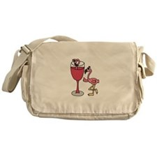 Flamingo in Wine Glass Messenger Bag