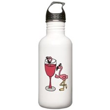 Flamingo in Wine Glass Water Bottle