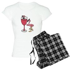 Flamingo in Wine Glass Pajamas