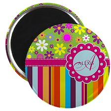 Custom Name Flower Background Magnet