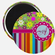 Custom Name Flower Background Magnet