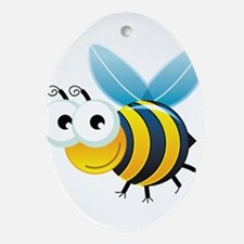 Happy Bee Ornament (Oval)