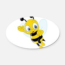 Jumping Bee Oval Car Magnet