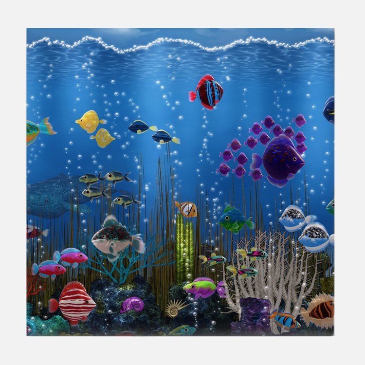 Underwater Love Tile Coaster