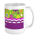 Colorful Flower Pattern Large Mug