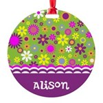Colorful Flower Pattern Round Ornament