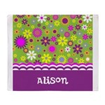 Colorful Flower Pattern Throw Blanket