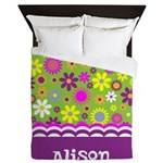 Colorful Flower Pattern Queen Duvet