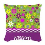Colorful Flower Pattern Woven Throw Pillow