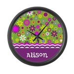 Colorful Flower Pattern Large Wall Clock