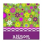 Colorful Flower Pattern Tile Coaster