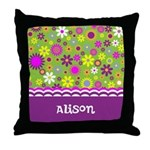 Colorful Flower Pattern Throw Pillow