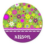 Colorful Flower Pattern Round Car Magnet