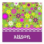 Colorful Flower Pattern Square Car Magnet 3