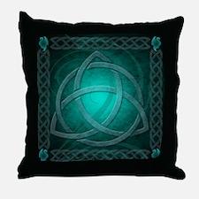 Teal Celtic Dragon Throw Pillow