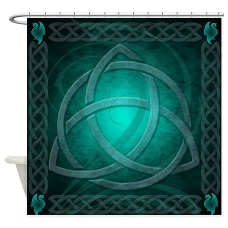 Teal Celtic Dragon Shower Curtain By Theinspirededge