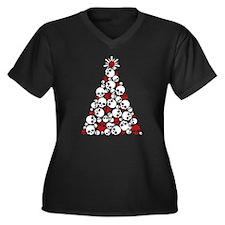 Gothic Skull Christmas Tree Women's Plus Size V-Ne