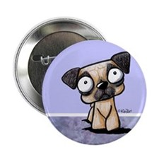 """Scaredy Pug 2.25"""" Button (100 pack)"""