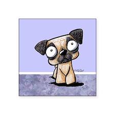 """Scaredy Pug Square Sticker 3"""" x 3"""""""
