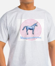 Shuuuunnn! Blue unicorn! Ash Grey T-Shirt