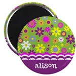 Personalized Name Colorful Flowers Magnet
