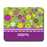 Personalized Name Colorful Flowers Mousepad