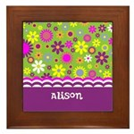 Personalized Name Colorful Flowers Framed Tile