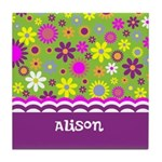 Personalized Name Colorful Flowers Tile Coaster