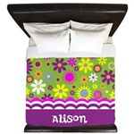 Personalized Name Colorful Flowers King Duvet